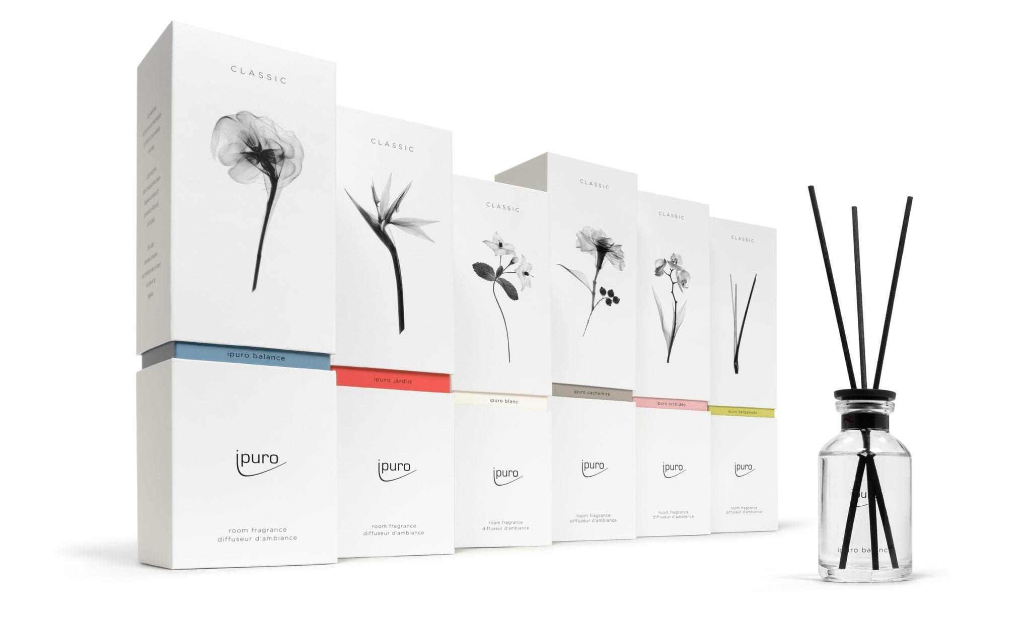 ipuro classic product line packaging design and flask