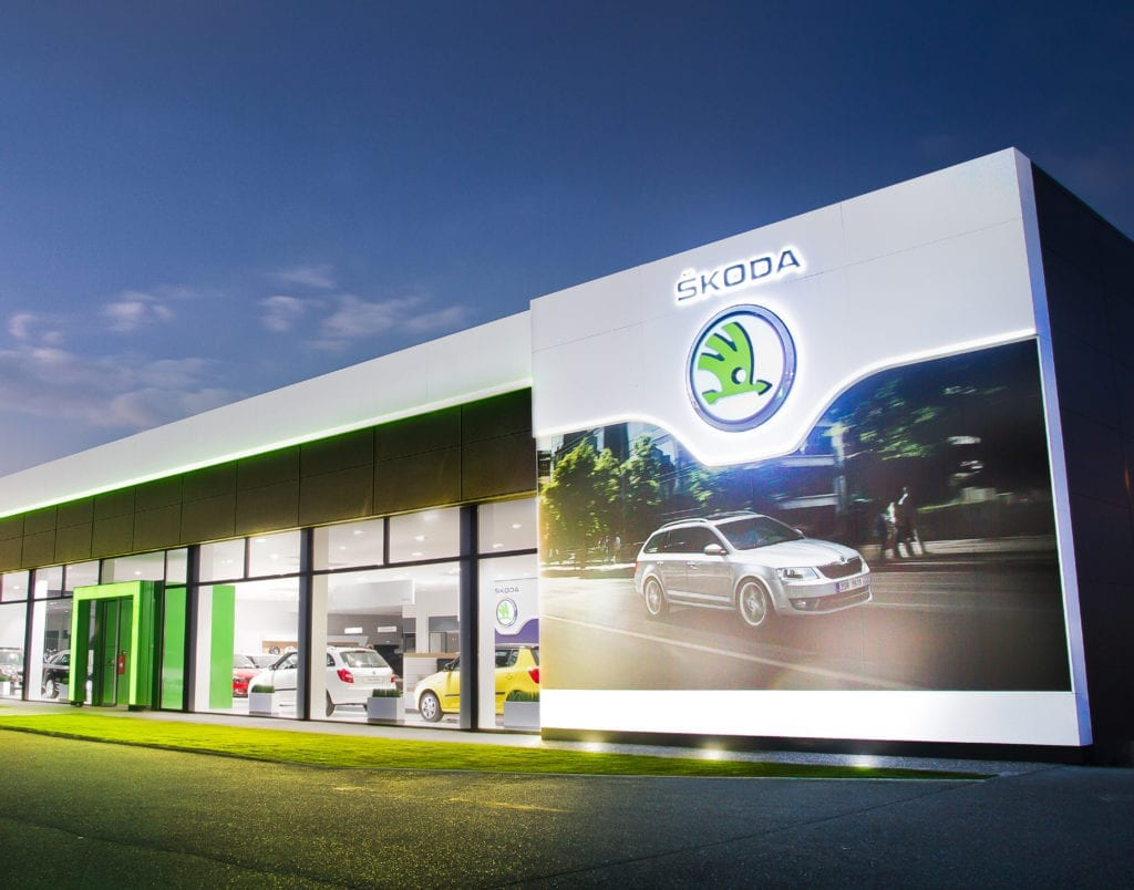 Skoda car dealership facade