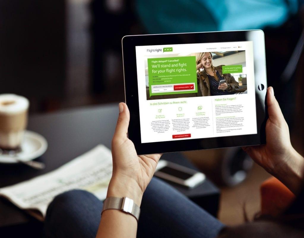 Fightright Webdesign auf Tablet
