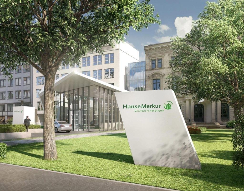 Hanse Merkur Versicherungsgruppe Logo vor Firmengebäude