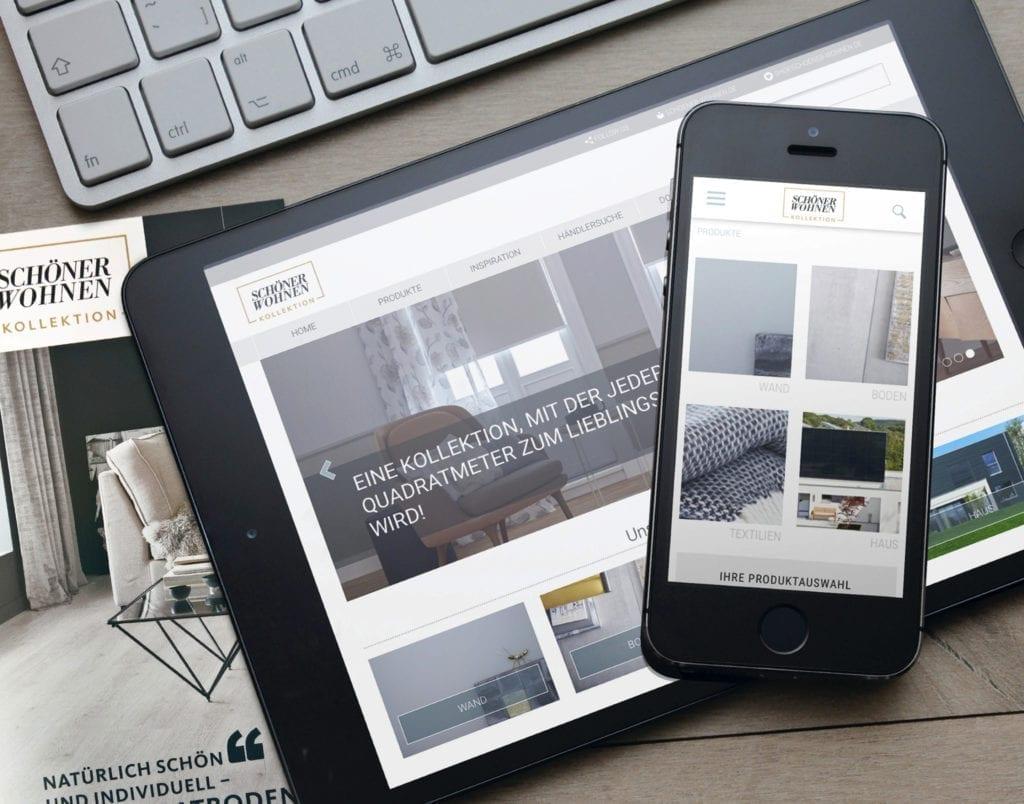 Schöner Wohnen Web und E-Commerce Design auf Smartphone und Tablet