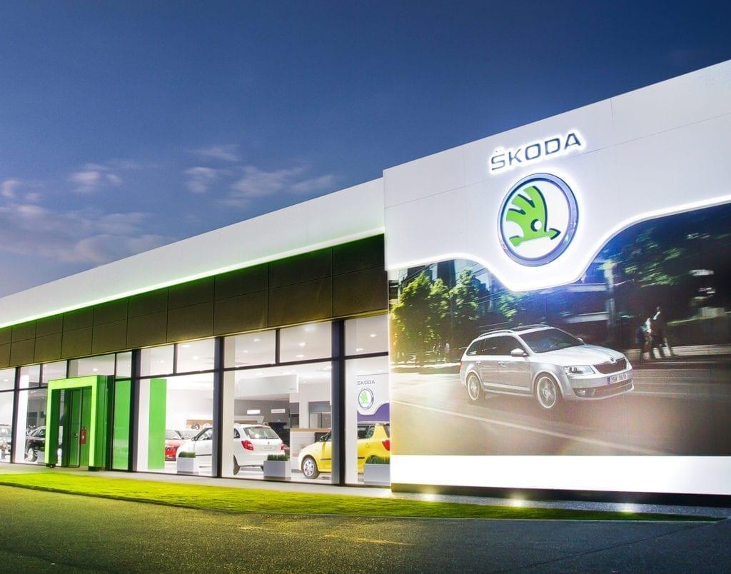 Skoda car dealership exterior view