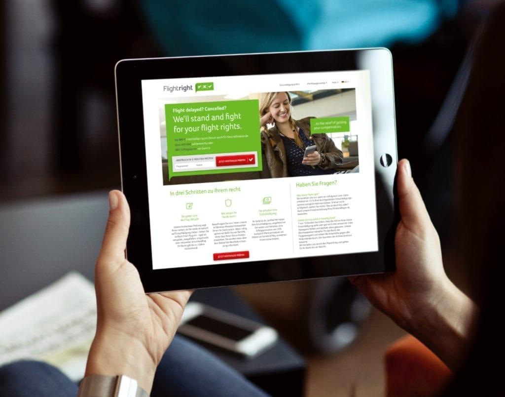 Flightright Webdesign auf Tablet
