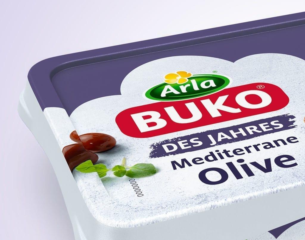Arla Buko Sorte des Jahres mediterrane Olive Verpackungsdesign