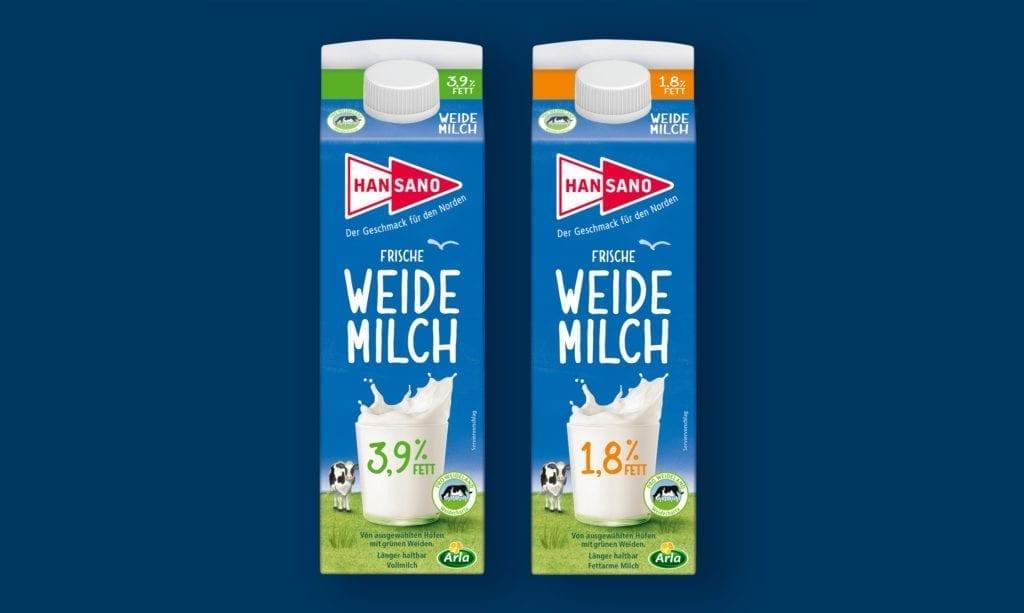 Hansano Weidemilch Verpackungsdesign