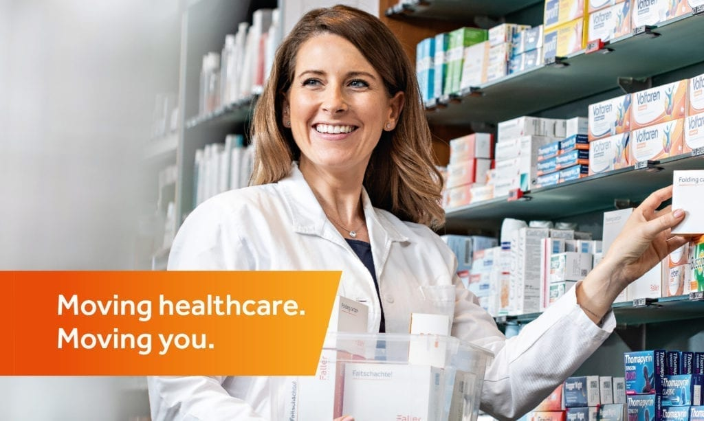 Faller packaging Keyvisual with Claim Moving healthcare. Moving you.