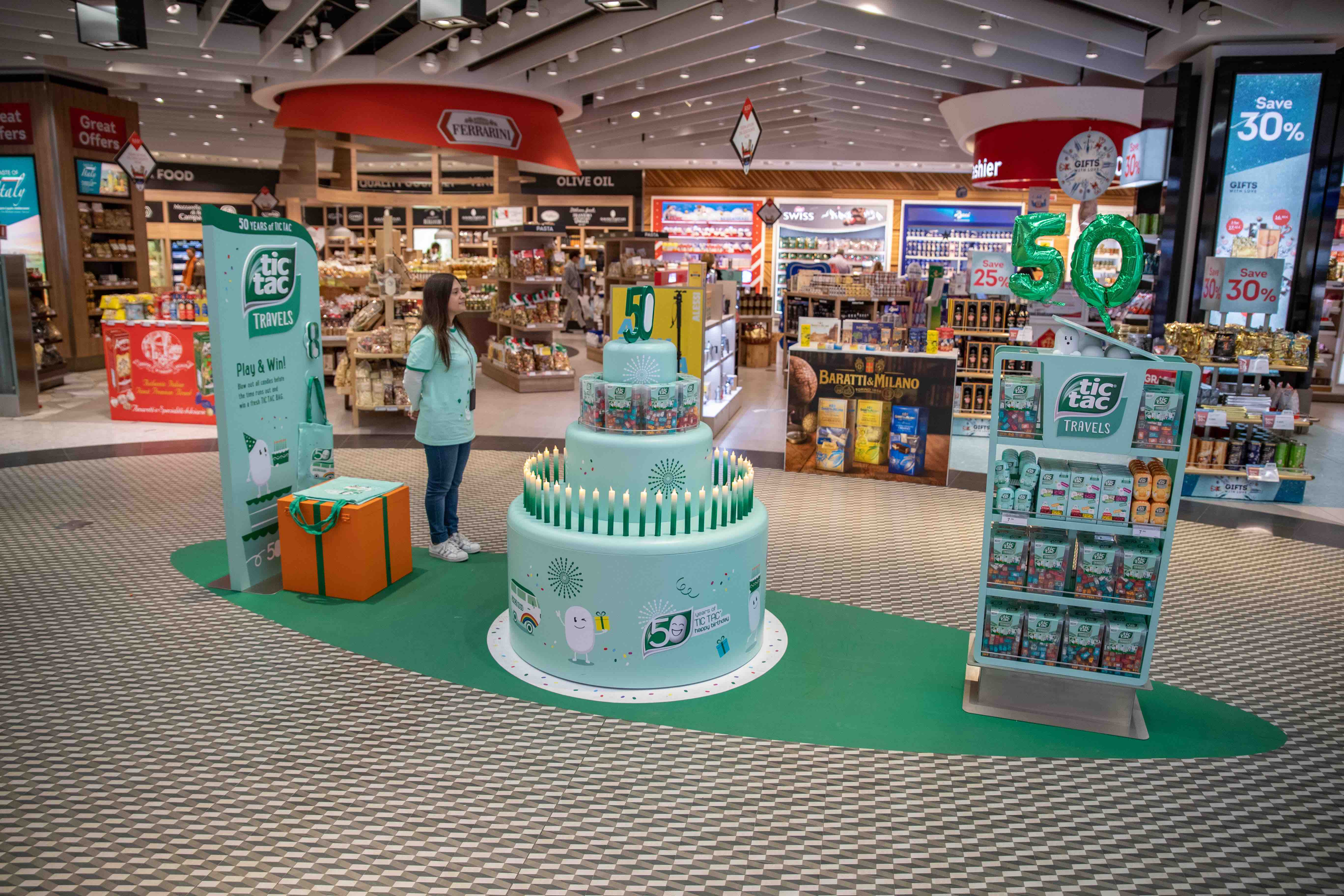 Tictac Travels 50th anniversary promotional stand