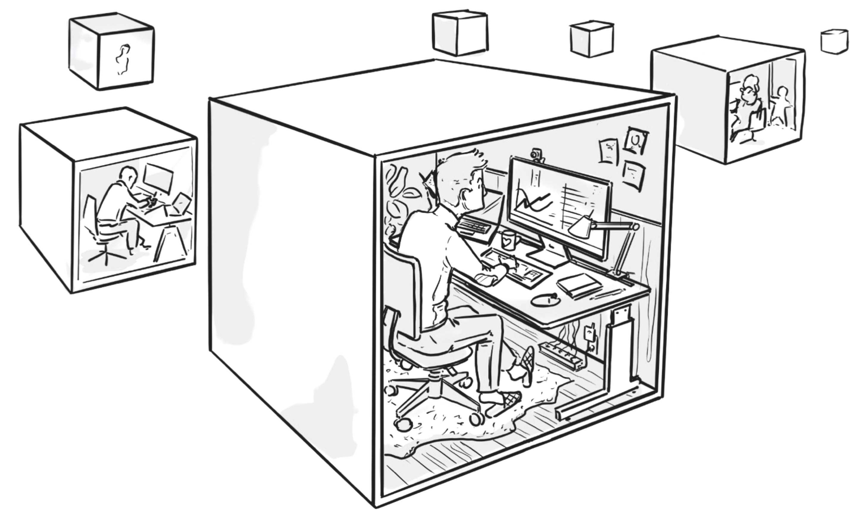 Dieses Bild stellt ein Sinnbild für hybrides Arbeiten dar. Es sind insgesamt 6 Büro-Boxen in unterschiedlicher Entfernung zu sehen. In allen Boxen arbeitet je ein Mitarbeiter konzentriert an seinem Computer.