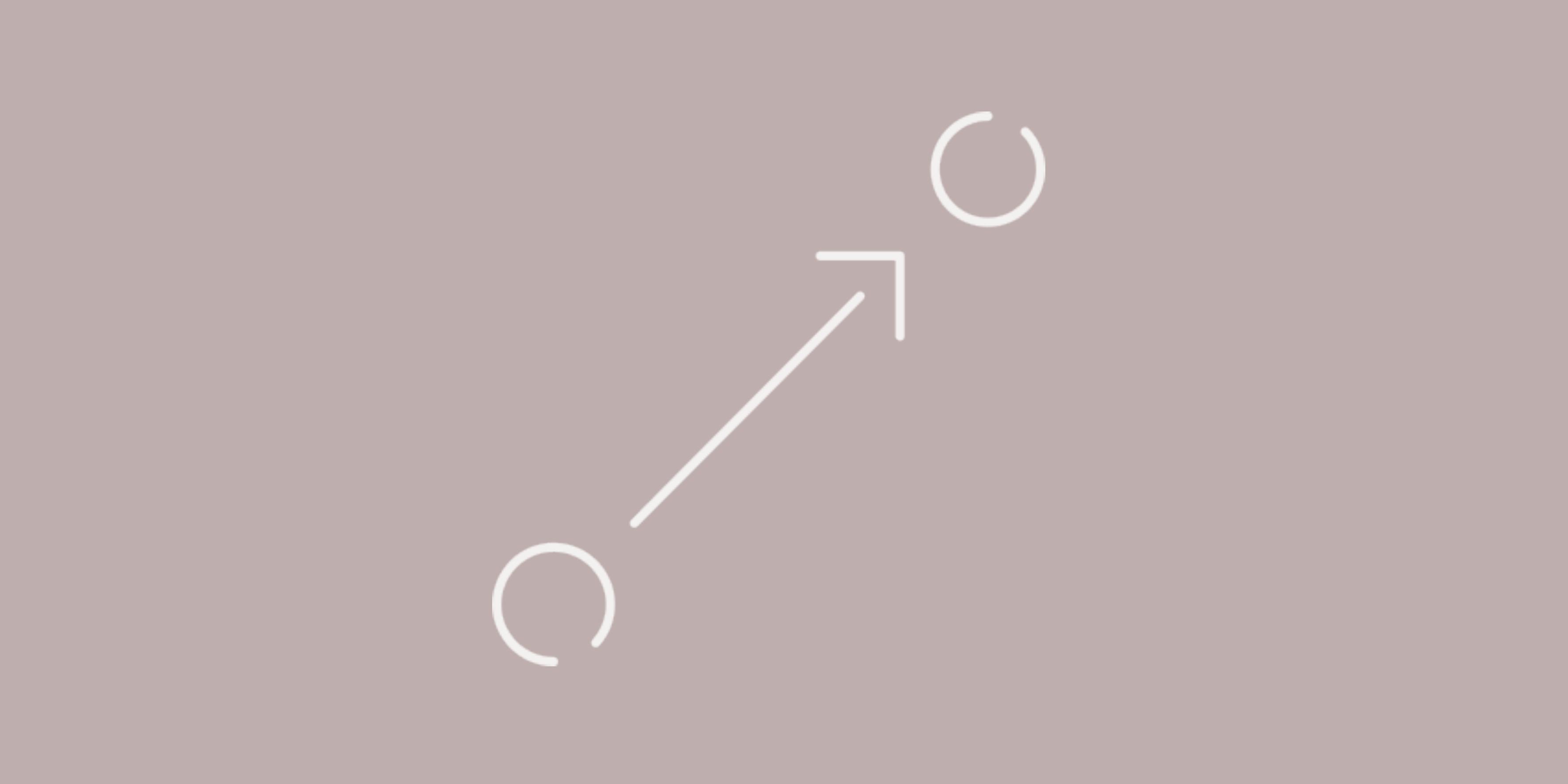Als Symbolbild für Strategie sind zwei Kreise dargestellt, die durch einen Pfeil miteinander verbunden werden.